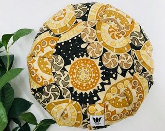 Meditation Cushion, Yoga Pillow, Traditional Zafu, Yellow Black Graphic Design, Handcrafted, Limited Edition, Buckwheat Fill Meditation Prop