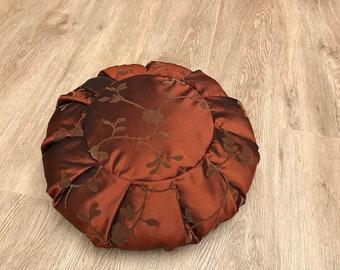 Meditation Seat, Bronze Floral Print, Meditation Cushion, Meditation Practice Cushion, Round Yoga Pillow, Yoga Floor Cushion, Yoga Pillow