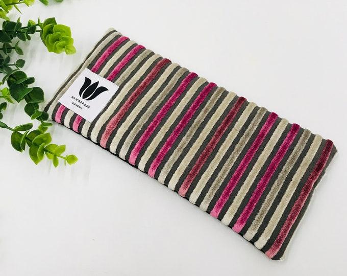 Luxury Eye Pillow | Unscented Eye Bag | Pink Plush Stripe | Eye Shade | Natural Flax Seed | Organic Fill | Warm or Cold Eye Compress