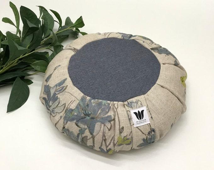 Meditation Cushion, Blue Grey Linen, Nature Print, Yoga Pillow, Zafu, Meditation Seat, Yoga Meditation Pillow, Meditate, Floor Pillow