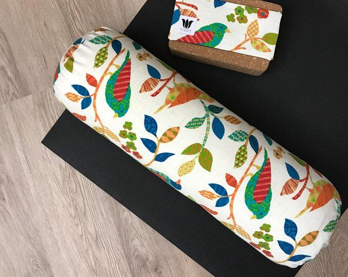 Yoga Bolster & Luxury Eye Pillow Set   Bright Nature Print   Linen Cotton Canvas   Yoga Room   Studio Decor   Round Bolster   Yoga Props