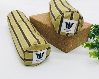 Mini Bolsters, Brown Stripe, Yoga Prop, Knee Cushion, Body Pillow, Washable Cover, Removeable Insert, Natural Organic Fill, Yin Yoga Support
