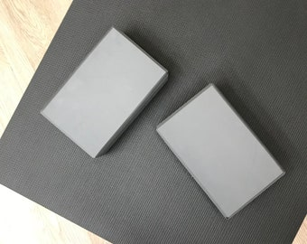 "Yoga Block | Brick, Poly Foam, 3"" x 6"" x 9"" | 2 Block Set | Home Yoga Practice | Yoga Studio Practice Prop | High Density Foam | Color Grey"