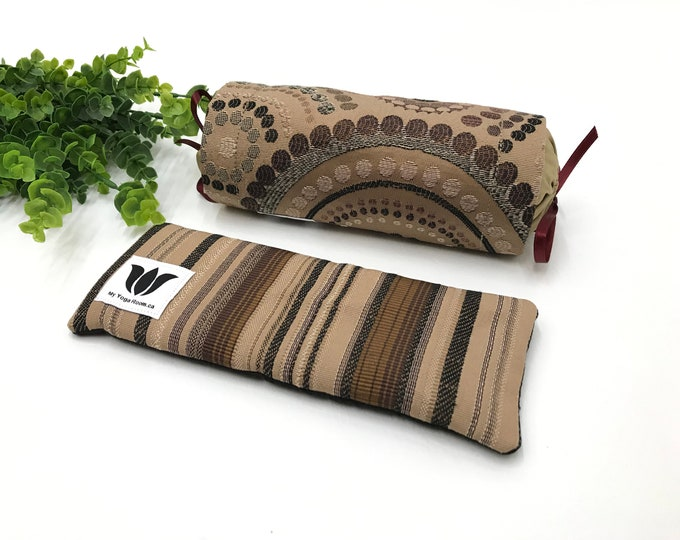 LUXURY GIFT SET | Neck Roll & Eye Pillow | Graphic Print | Flax Seed Fill | Warm or Cold Therapy | Relaxation Gift | Spa Gift Set| UnSCENTED