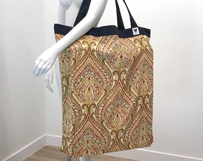 Yoga Bag | Extra Large Yoga Bag | Orange Damask | Yoga Tote | Yoga Equipment Bag | Over-sized Bag | Light Weight | Washable | Yoga Prop Bag