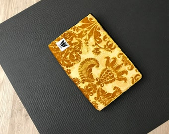 "Yoga Block ~ Yoga Brick ~ Gold & Black Plush Fabric Covered Yoga Block ~ 2"" Medium Density Foam ~ Knee Cushion ~ Yoga Prop ~ Yoga Support"