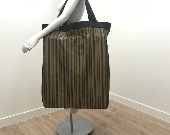 TOTE BAG, Yoga Mat Bag, Black Bronze Stripe Fabric, The Perfect Large Yoga Tote Bag, Over-sized, Heavy Duty, Light Weight, Yoga Prop Storage