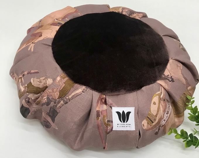 Meditation Seat | Zafu | Yoga Pillow | Yoga Floor Cushion | Elephant Linen Print with Plush Fabric Center | OOAK Handcrafted | Yoga Products