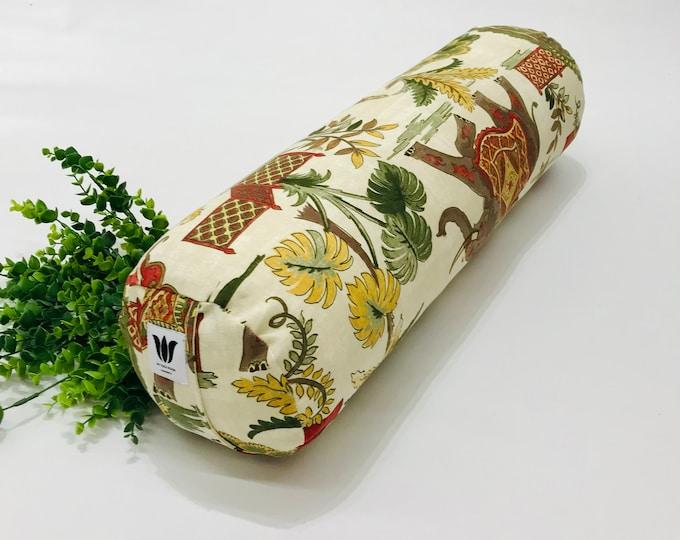 Yoga Bolster | Round Yoga Bolster | Yoga Practice Prop | Elephant Graphic | Boho Style | Washable Cotton Canvas | Yoga Pillow | Yoga Prop