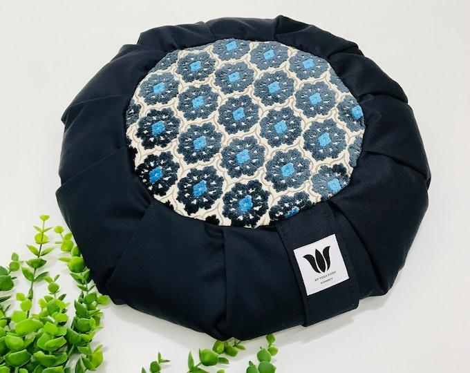Meditation Seat | Round Yoga Pillow | Yoga Floor Cushion | Navy Cotton Canvas Plush Mandala Center | Meditation Cushion |Meditation Practice