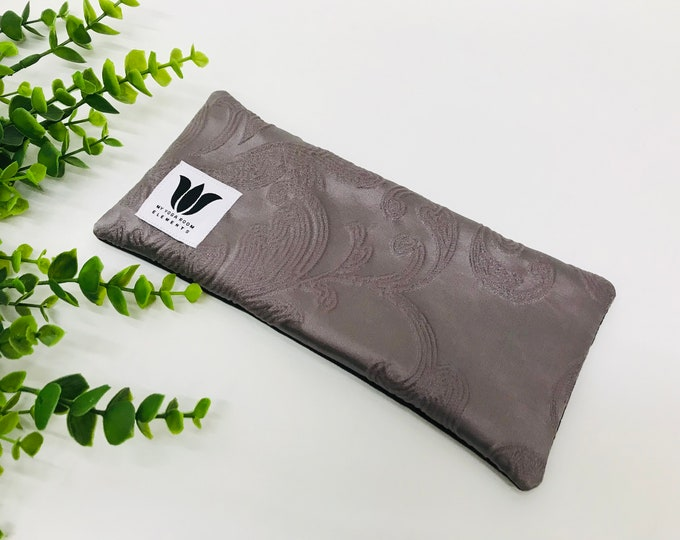 Purple Eye Pillow | Eye Compress | Unscented | Embossed Satin & Black Bamboo | Heatable Eye Pillow | Cool Eye Compress | Made in Canada