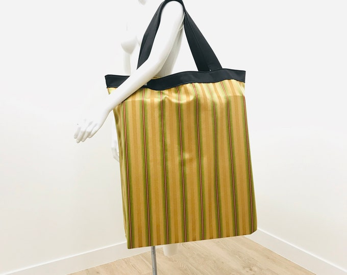 Large Shoulder Tote | Yoga Mat Bag | Stripe Fabric Gold Red Green | Equipment Storage | Solid Construction |  Light Weight & Washable