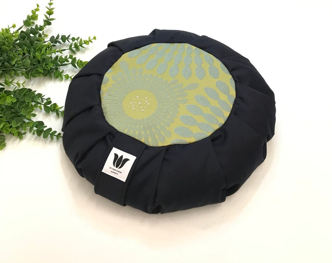 Meditation Seat   Green Mandala   Cotton Fabric   Home Yoga Practice   Meditation Cushion   Meditation Space Decor   Handcrafted in Canada