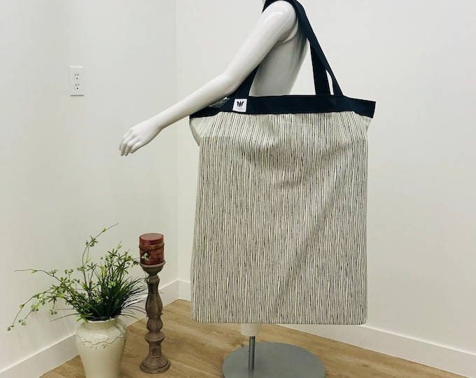 Large Shoulder Tote | Yoga Mat Bag | Stripe Fabric White Tan Green | Equipment Storage | Solid Construction |  Light Weight & Washable