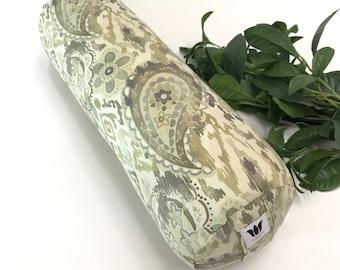 Yoga Bolster | Sage Green Paisley | Cotton Canvas | Round Yoga Pillow | Yoga Room Decor | Removable Cover | Yoga Pillow | Yoga Studio Prop