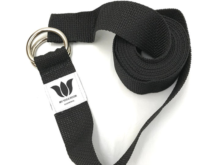 """Yoga Strap, 9 Foot Length, 1 1/2"""" Wide, Easy Adjust Heavy Gauge D Rings, Black, Soft Non-Slip, 22 mm Thickness, Stretch Strap,Made in Canada"""