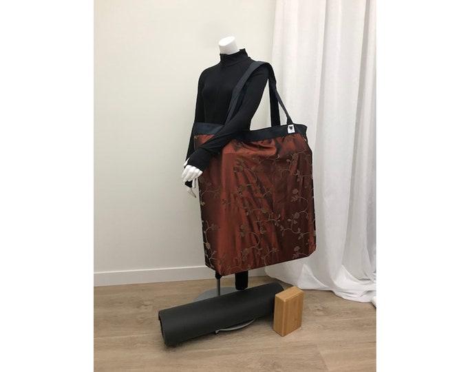 MEGA Shoulder Bag Yoga Bag Bronze & Blue Equipment Storage Over-sized Heavy Duty Light Weight Washable Fabric Yoga Prop Bag Carry-all
