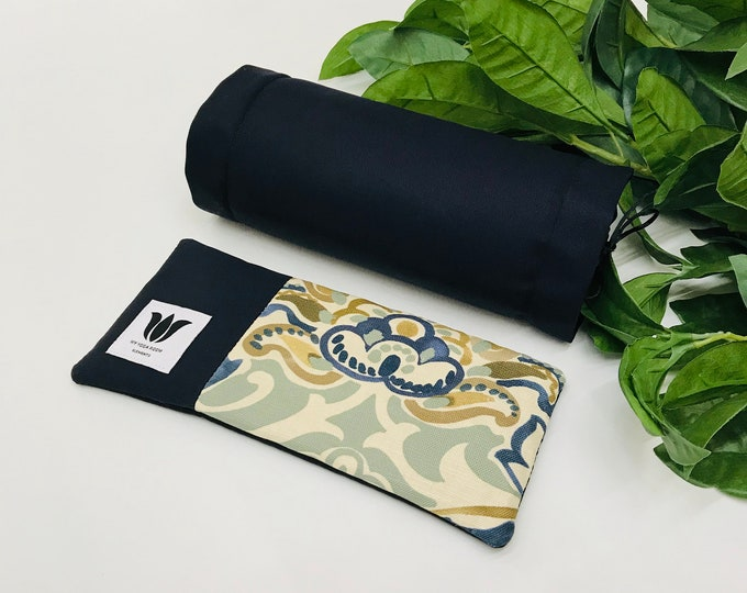 GIFT SET - Luxury Eye Pillow & Neck Roll - Navy Blue Floral Premium Fabric - Can be Warmed or Cooled ~ Natural Pain Relief ~ Unscented