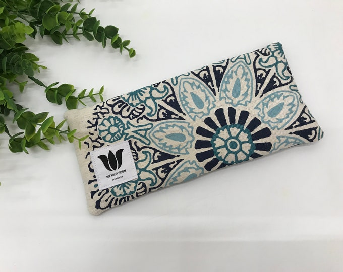 Luxury Eye Pillow | Boho Style | Unscented Eye Pillow | Blue Mandala Print | Bamboo Fabric | Natural Filling | Yoga Prop | Yoga Gift Idea
