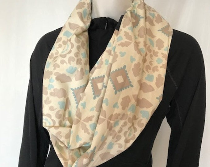 Meditation Seat from Infinity Scarf, Brown & Turquoise Print, Light Weight Cotton, Yoga, Seated Meditation, Back Support, Yoga Teacher Gift