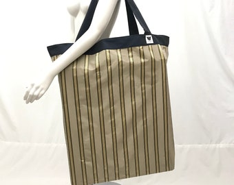 Extra Large Yoga Equipment Bag | Yoga Prop Bag | Sage Brown Gold Stripe | Equipment Storage | Solid Construction | Light Weight | Washable