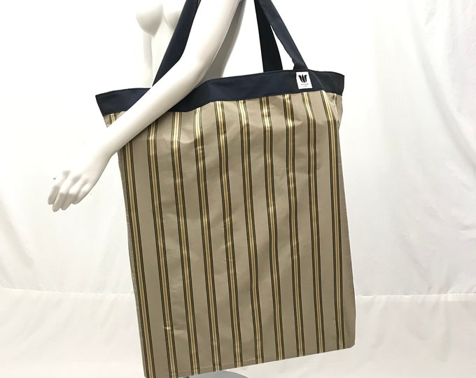 Extra Large Yoga Equipment Bag   Yoga Prop Bag   Sage Brown Gold Stripe   Equipment Storage   Solid Construction   Light Weight   Washable