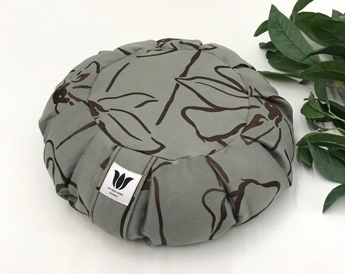 Meditation Seat | Yoga Room Decor | Meditation Practice | Natural Buckwheat Pillow | Yoga Floor Cushion |Modern Print Fabric |Made in Canada