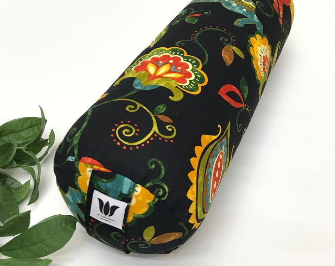 Yoga Bolster, Rainbow and Black Nature Print, Boho Style, Yoga Space, Yoga Prop, Home Yoga Practice, Natural Cotton Fabric, Made in Canada