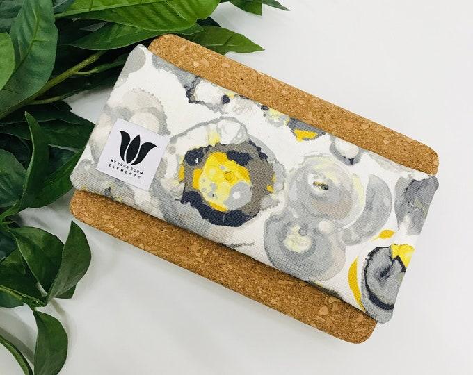 Luxury Eye Pillow | Unscented Eye Bag | Yoga Prop | Spa Gift | Restorative Yoga Prop | Cool or Warmable Eye Compress | Grey Yellow Print