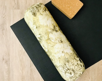 Yoga Bolster | Yellow &  Brown Floral Print | Cotton Canvas Yoga Pillow | Home Yoga Practice Prop | Round Yoga Bolster | Allergy Sensitive