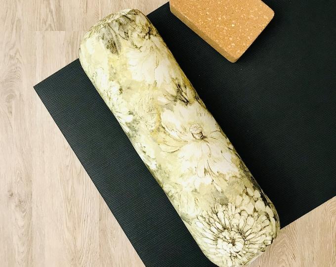 Yoga Bolster   Yellow &  Brown Floral Print   Cotton Canvas Yoga Pillow   Home Yoga Practice Prop   Round Yoga Bolster   Allergy Sensitive