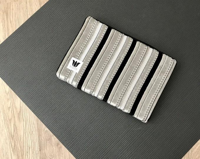 "Yoga Block ~ Yoga Brick ~ Grey & Black Plush Fabric Covered Yoga Block ~ 2"" Medium Density Foam ~ Knee Cushion ~ Yoga Prop ~ Yoga Support"