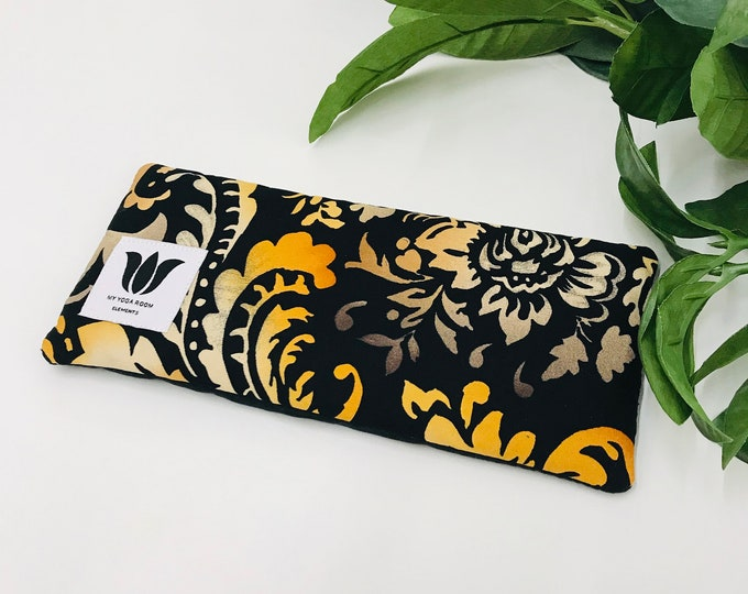 Luxury Eye Pillow, Eye Bag, Flaxseed Fill, Yoga Prop, Relaxing, Spa Gift, Pain Relief, Cool or Warmable Pack, UNSCENTED, Black Orange Damask