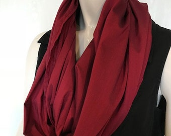 Infinity Scarf Converts to Meditation Seat, Rich Ruby Red, Yoga, Meditation, Back Support while in Crossed Leg Sitting, Workshops, Retreats