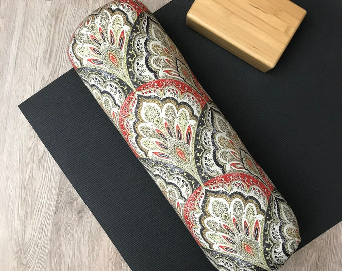 Yoga Bolster, Bright Boho Damask Print, Cotton Canvas, Washable Cover, Home Yoga Practice Prop, Restorative Yoga, Allergy Sensitive Insert