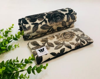LUXURY GIFT SET | Neck Roll & Eye Pillow | Plush Modern Floral Print | Organic Fill | Warm  Cold Pack | Self Care | Spa Gift Set | UnSCENTED