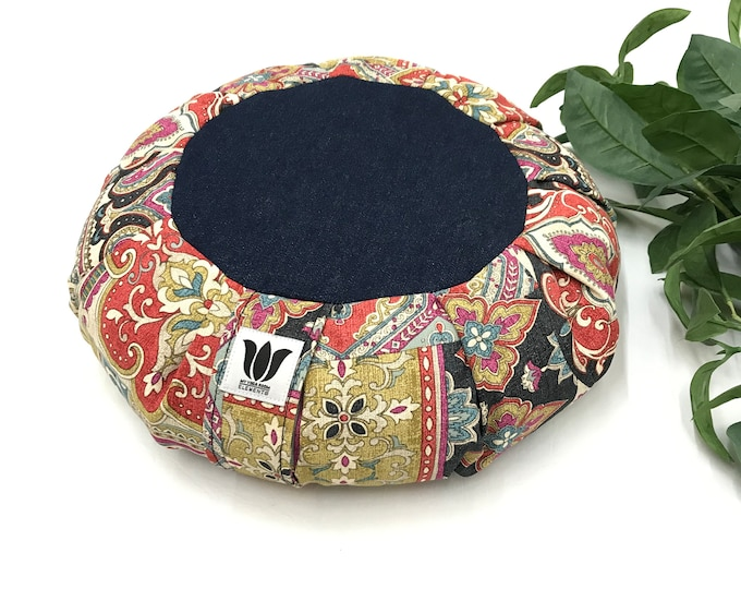 Meditation Seat, Multi-Functional, Home Practice, Yoga Room & Studio, Buckwheat Pillow / Cushion, Blue Denim Mandala Center, Handcrafted