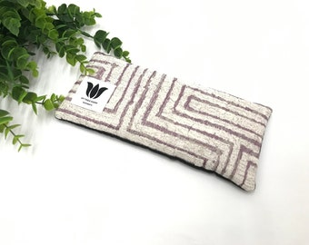Luxury Eye Pillow, Eye Bag, Flaxseed Fill, Yoga Prop, Relaxing, Spa Gift, Pain Relief, Cool or Warmable Pack, UNSCENTED, Purple White