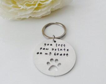 Hand stamped pet memorial keyring