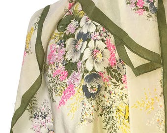 Gorgeous Semi-sheer Floral Scarf with Cream with Sage Border