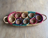 FUN Colorful Picnic Basket Drink Holder - Basket for Drinks - Wicker Basket - Farmhouse Style Jungalow Style - Drink Carrier - festive