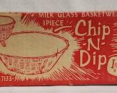 Indiana Glass Milk Glass Basketweave 3 Piece Chip-N-Dip IOB