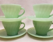 Vintage Jadeite Anchor Hocking Fire King Jadeite Shell Cups and Saucers - Set of Four Jadeite Cups and Saucers - Vintage Jadeite - Shell Cup