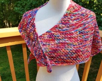 Hand knit shawlette of hand dyed 100% merino wool