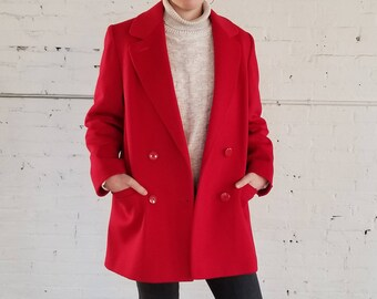 Red Double Breasted Wool Jacket