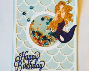 Birthday Wishes Card, Mermaid Shaker Card.