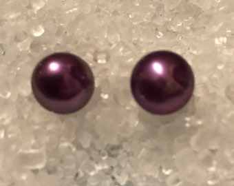 Dark Purple freshwater pearl stud earrings