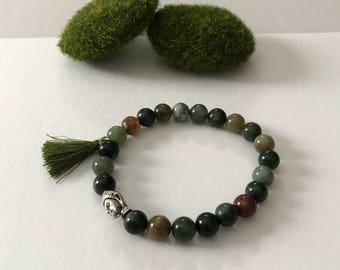 8mm Natural Agate Mala Bracelet with Buddha head bead and tassel