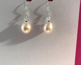 Freshwater peachy pink  Pearl Drop earrings