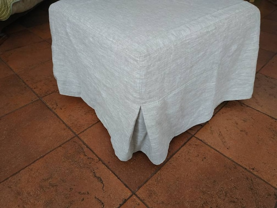 Excellent Pouf Ottoman Slipcover With The Corner Pleats Linen Pouf Cover With Pleated Corners Any Custom Size Pouf Cover With The Skirt Gmtry Best Dining Table And Chair Ideas Images Gmtryco